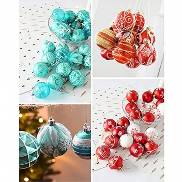 MoGist 24 Weihnachtskugel Luxuriös Glänzend Weihnachten Deko Anhänger Christbaumkugeln Plastik Bruchsicher Weihnachtsschmuck (Rot) - 7