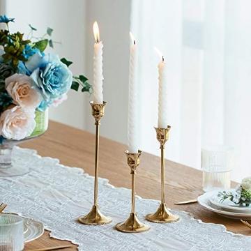 Nuptio 3 Stück Messing Gold Metall Taper Kerzenhalter, Vintage Kerzen Ständer Herzstück für Tisch Kaminsims Hochzeit Housewarming Geschenk, Kerzenhalter Stabkerze für Tischdeko Weihnachten Couchtisch - 3