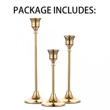 Nuptio 3 Stück Messing Gold Metall Taper Kerzenhalter, Vintage Kerzen Ständer Herzstück für Tisch Kaminsims Hochzeit Housewarming Geschenk, Kerzenhalter Stabkerze für Tischdeko Weihnachten Couchtisch - 7