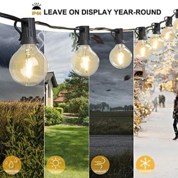 ORAOKO Lichterkette Glühbirnen G40, 15.2M 50 Birnen mit 2 Ersatzbirnen Warmweiß LED Lichterkette Außen Wasserdicht Outdoor Lichterkette für Garten, Bäume, Terrasse, Weihnachten, Hochzeiten, Partys - 4