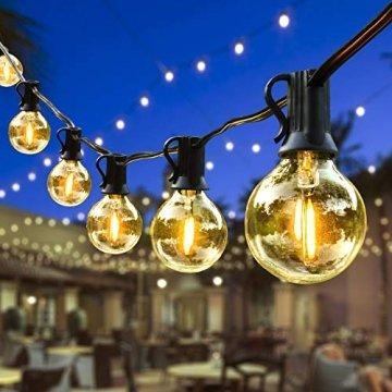 ORAOKO Lichterkette Glühbirnen G40, 15.2M 50 Birnen mit 2 Ersatzbirnen Warmweiß LED Lichterkette Außen Wasserdicht Outdoor Lichterkette für Garten, Bäume, Terrasse, Weihnachten, Hochzeiten, Partys - 1