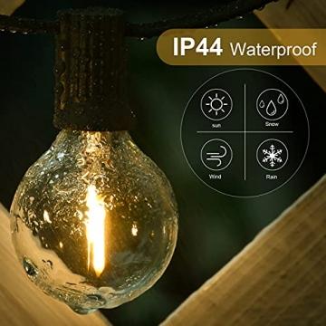 ORAOKO Lichterkette Glühbirnen G40, 15.2M 50 Birnen mit 2 Ersatzbirnen Warmweiß LED Lichterkette Außen Wasserdicht Outdoor Lichterkette für Garten, Bäume, Terrasse, Weihnachten, Hochzeiten, Partys - 5