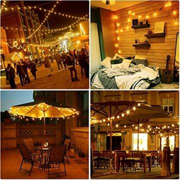 ORAOKO Lichterkette Glühbirnen G40, 15.2M 50 Birnen mit 2 Ersatzbirnen Warmweiß LED Lichterkette Außen Wasserdicht Outdoor Lichterkette für Garten, Bäume, Terrasse, Weihnachten, Hochzeiten, Partys - 6