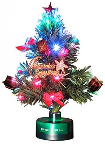 PEARL Mini Weihnachtsbaum: LED-Weihnachtsbaum mit Glasfaser-Farbwechsler (LED Weihnachtsbaum klein) - 2