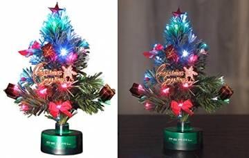 PEARL Mini Weihnachtsbaum: LED-Weihnachtsbaum mit Glasfaser-Farbwechsler (LED Weihnachtsbaum klein) - 1