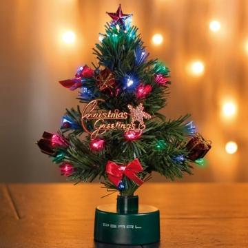 PEARL Mini Weihnachtsbaum: LED-Weihnachtsbaum mit Glasfaser-Farbwechsler (LED Weihnachtsbaum klein) - 5