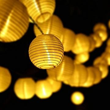 Qedertek Solar Lichterkette Lampion Außen 6 Meter 30 LED Laternen 2 Modi Wasserdicht Solar Beleuchtung für Garten, Hof, Hochzeit, Fest Deko (Warmweiß) - 2