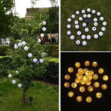 Qedertek Solar Lichterkette Lampion Außen 6 Meter 30 LED Laternen 2 Modi Wasserdicht Solar Beleuchtung für Garten, Hof, Hochzeit, Fest Deko (Warmweiß) - 3