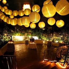 Qedertek Solar Lichterkette Lampion Außen 6 Meter 30 LED Laternen 2 Modi Wasserdicht Solar Beleuchtung für Garten, Hof, Hochzeit, Fest Deko (Warmweiß) - 1