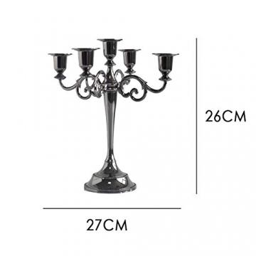 Queta Kerzenleuchter 5-armig Kerzenständer Candle Holder Kerzenhalter als Tischdeko für Weihnachten und Erntedankfest (Schwarz) - 2