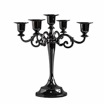 Queta Kerzenleuchter 5-armig Kerzenständer Candle Holder Kerzenhalter als Tischdeko für Weihnachten und Erntedankfest (Schwarz) - 1