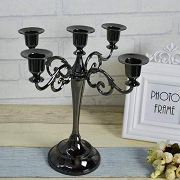 Queta Kerzenleuchter 5-armig Kerzenständer Candle Holder Kerzenhalter als Tischdeko für Weihnachten und Erntedankfest (Schwarz) - 5