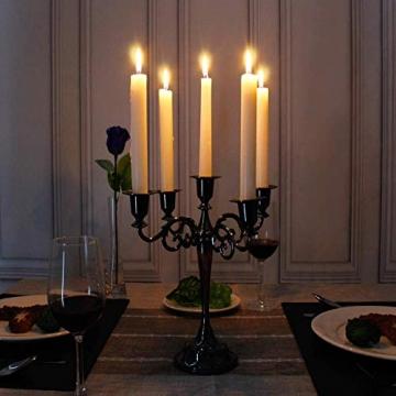 Queta Kerzenleuchter 5-armig Kerzenständer Candle Holder Kerzenhalter als Tischdeko für Weihnachten und Erntedankfest (Schwarz) - 8