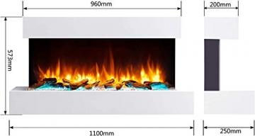 RICHEN Elektrokamin Ignis - Elektrischer Wandkamin Mit Heizung, LED-Beleuchtung, 3D-Flammeneffekt & Fernbedienung - Elektrischer Kamin Weiß - 3