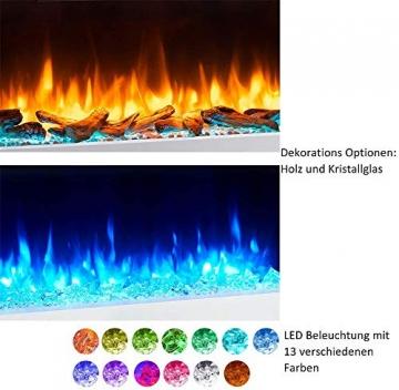 RICHEN Elektrokamin Ignis - Elektrischer Wandkamin Mit Heizung, LED-Beleuchtung, 3D-Flammeneffekt & Fernbedienung - Elektrischer Kamin Weiß - 4