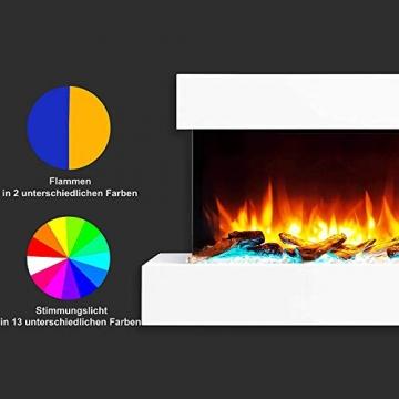 RICHEN Elektrokamin Ignis - Elektrischer Wandkamin Mit Heizung, LED-Beleuchtung, 3D-Flammeneffekt & Fernbedienung - Elektrischer Kamin Weiß - 5