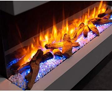 RICHEN Elektrokamin Ignis - Elektrischer Wandkamin Mit Heizung, LED-Beleuchtung, 3D-Flammeneffekt & Fernbedienung - Elektrischer Kamin Weiß - 6