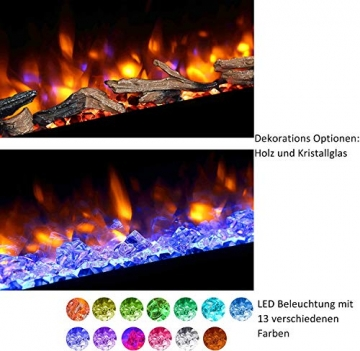 RICHEN Elektrokamin Zeus - Elektrischer Standkamin Mit Heizung, LED-Beleuchtung, 3D-Flammeneffekt & Fernbedienung - Elektrischer Kamin Weiß - 5