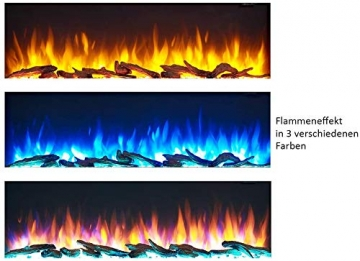 RICHEN Elektrokamin Zeus - Elektrischer Standkamin Mit Heizung, LED-Beleuchtung, 3D-Flammeneffekt & Fernbedienung - Elektrischer Kamin Weiß - 6