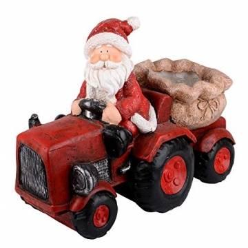 RM E-Commerce Traktor Weihnachtsmann Deko Figur Weihnachtsdeko für außen rot - 1