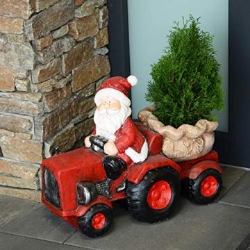 RM E-Commerce Traktor Weihnachtsmann Deko Figur Weihnachtsdeko für außen rot - 2