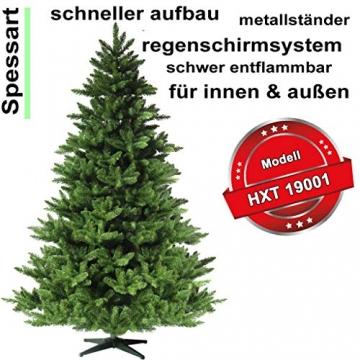 RS Trade 19001 Weihnachtsbaum künstlich 210 cm (Ø ca.146 cm) mit 1910 Spitzen und Schnellaufbau Klapp-Schirmsystem, schwer entflammbar, unechter Tannenbaum inkl. Metall Christbaum Ständer - 2