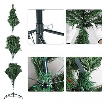 SALCAR Weihnachtsbaum künstlich 180cm mit 580 Spitzen, Tannenbaum künstlich Schnellaufbau inkl. Christbaum-Ständer, Weihnachtsdeko - grün 1,8m - 3
