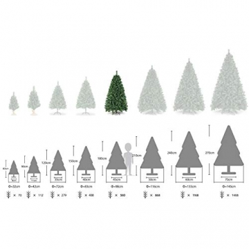 SALCAR Weihnachtsbaum künstlich 180cm mit 580 Spitzen, Tannenbaum künstlich Schnellaufbau inkl. Christbaum-Ständer, Weihnachtsdeko - grün 1,8m - 5