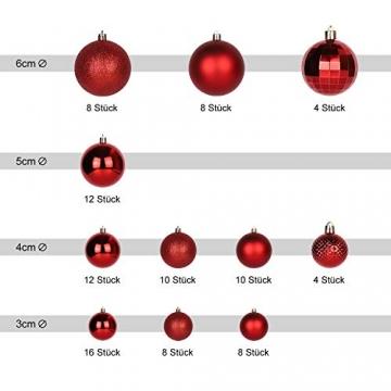 SALCAR Weihnachtskugeln Set Rot,Christbaumkugeln Plastik Bruchsicher mit Kunststoff Weihnachtsbaumkugeln Box, Weihnachtsbaum Deko & Christbaumschmuck-100 Stück - 2