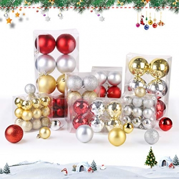 SALCAR Weihnachtskugeln Set Rot,Christbaumkugeln Plastik Bruchsicher mit Kunststoff Weihnachtsbaumkugeln Box, Weihnachtsbaum Deko & Christbaumschmuck-100 Stück - 4