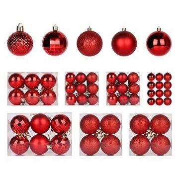 SALCAR Weihnachtskugeln Set Rot,Christbaumkugeln Plastik Bruchsicher mit Kunststoff Weihnachtsbaumkugeln Box, Weihnachtsbaum Deko & Christbaumschmuck-100 Stück - 1