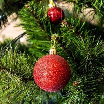 SALCAR Weihnachtskugeln Set Rot,Christbaumkugeln Plastik Bruchsicher mit Kunststoff Weihnachtsbaumkugeln Box, Weihnachtsbaum Deko & Christbaumschmuck-100 Stück - 5