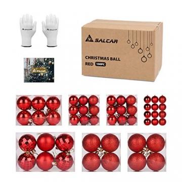 SALCAR Weihnachtskugeln Set Rot,Christbaumkugeln Plastik Bruchsicher mit Kunststoff Weihnachtsbaumkugeln Box, Weihnachtsbaum Deko & Christbaumschmuck-100 Stück - 7