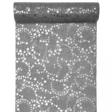 Santex 3 Meter Jute Tischläufer Weihnachten Sterne in Grau/Silber, 30 cm - 1