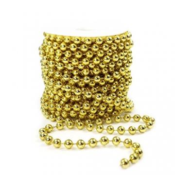 Sepkina Perlenband Perlenkette Baumschmuck Weihnachsbaum Perlengirlande Perlenschnur Weihnachten Advent Hochzeit Deko Tischdeko Meterware 10 Meter Gold (S-P6-03-gold-10m) (0,90€/m) - 2