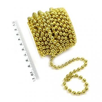 Sepkina Perlenband Perlenkette Baumschmuck Weihnachsbaum Perlengirlande Perlenschnur Weihnachten Advent Hochzeit Deko Tischdeko Meterware 10 Meter Gold (S-P6-03-gold-10m) (0,90€/m) - 3