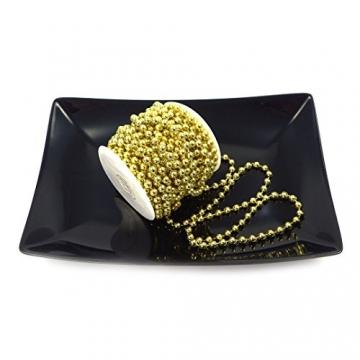 Sepkina Perlenband Perlenkette Baumschmuck Weihnachsbaum Perlengirlande Perlenschnur Weihnachten Advent Hochzeit Deko Tischdeko Meterware 10 Meter Gold (S-P6-03-gold-10m) (0,90€/m) - 4