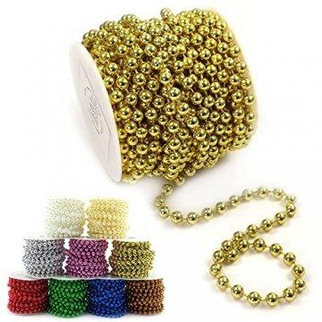 Sepkina Perlenband Perlenkette Baumschmuck Weihnachsbaum Perlengirlande Perlenschnur Weihnachten Advent Hochzeit Deko Tischdeko Meterware 10 Meter Gold (S-P6-03-gold-10m) (0,90€/m) - 1