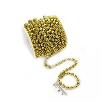 Sepkina Perlenband Perlenkette Baumschmuck Weihnachsbaum Perlengirlande Perlenschnur Weihnachten Advent Hochzeit Deko Tischdeko Meterware 10 Meter Gold (S-P6-03-gold-10m) (0,90€/m) - 5
