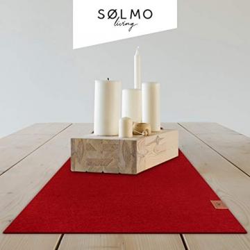 sølmo I Design Tischläufer aus Filz I 150x40cm Tischband I Abwaschbar mit Leder Label, Skandinavischer Tisch Filzläufer Frühjahr & Frühling (Rot) - 2