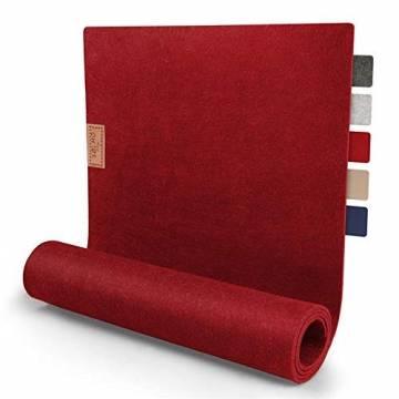 sølmo I Design Tischläufer aus Filz I 150x40cm Tischband I Abwaschbar mit Leder Label, Skandinavischer Tisch Filzläufer Frühjahr & Frühling (Rot) - 1