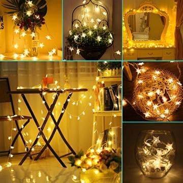 Sterne Lichterketten, 6M 40Pcs LED Batteriebetriebene Lichterketten, Decoration Lightning für Valentinstag Weihnachten Hochzeit Geburtstag Holiday Party Schlafzimmer Indoor & Outdoor (Warm White) - 2