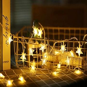 Sterne Lichterketten, 6M 40Pcs LED Batteriebetriebene Lichterketten, Decoration Lightning für Valentinstag Weihnachten Hochzeit Geburtstag Holiday Party Schlafzimmer Indoor & Outdoor (Warm White) - 3