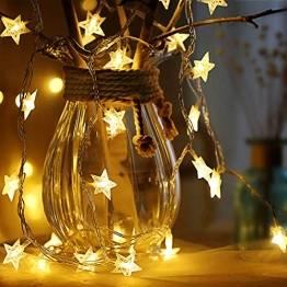 Sterne Lichterketten, 6M 40Pcs LED Batteriebetriebene Lichterketten, Decoration Lightning für Valentinstag Weihnachten Hochzeit Geburtstag Holiday Party Schlafzimmer Indoor & Outdoor (Warm White) - 1