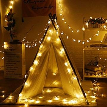 Sterne Lichterketten, 6M 40Pcs LED Batteriebetriebene Lichterketten, Decoration Lightning für Valentinstag Weihnachten Hochzeit Geburtstag Holiday Party Schlafzimmer Indoor & Outdoor (Warm White) - 4