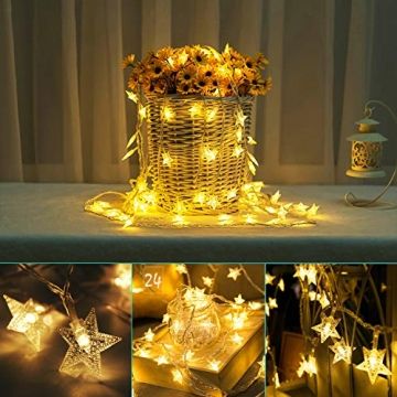 Sterne Lichterketten, 6M 40Pcs LED Batteriebetriebene Lichterketten, Decoration Lightning für Valentinstag Weihnachten Hochzeit Geburtstag Holiday Party Schlafzimmer Indoor & Outdoor (Warm White) - 5