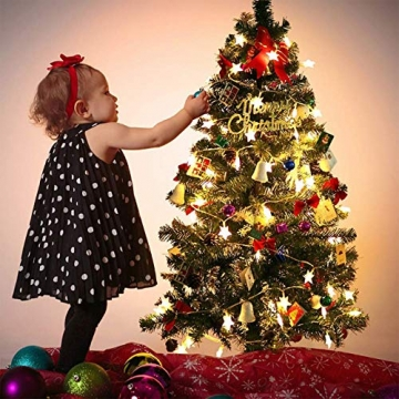 Sterne Lichterketten, 6M 40Pcs LED Batteriebetriebene Lichterketten, Decoration Lightning für Valentinstag Weihnachten Hochzeit Geburtstag Holiday Party Schlafzimmer Indoor & Outdoor (Warm White) - 6