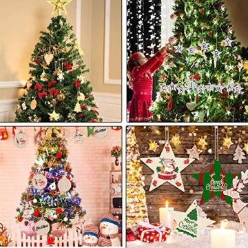 Sunshine smile 100 Stück Kleine Anhänger Holz Weihnachten, Anhänger Dekoration Holz, Weihnachtsbaum Deko Holz, Holz Weihnachtsdeko Anhänger, Ornamenten für Weihnachtsbaum, Christbaumschmuck aus Holz - 5