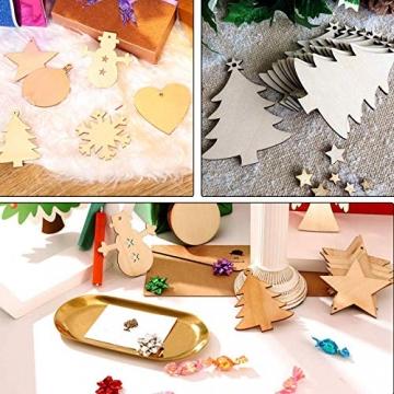 Sunshine smile 100 Stück Kleine Anhänger Holz Weihnachten, Anhänger Dekoration Holz, Weihnachtsbaum Deko Holz, Holz Weihnachtsdeko Anhänger, Ornamenten für Weihnachtsbaum, Christbaumschmuck aus Holz - 6