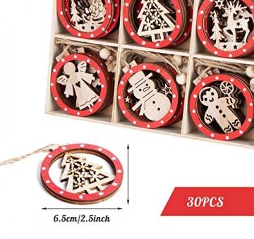 Sweelov 30tlg Holz Weihnachten Anhänger Rot Weihnachtsanhänger Doppelschicht Christbaumanhänger Hängeornamente Weihnachtsdeko, 6 Verschiedene Musters - 2